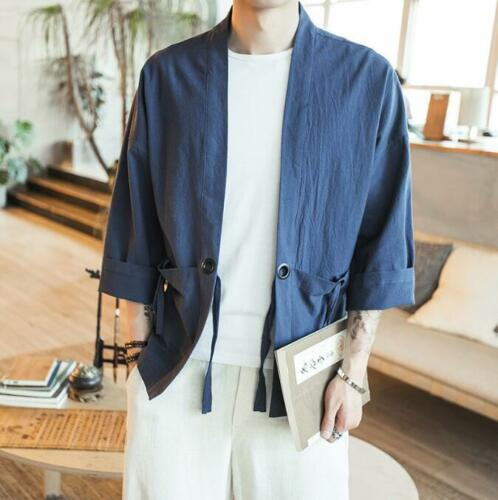 Men/'s Kimono Shirt Wing Chun Cotton Linen Jacket Outwear Robe Loose Coats Ths01