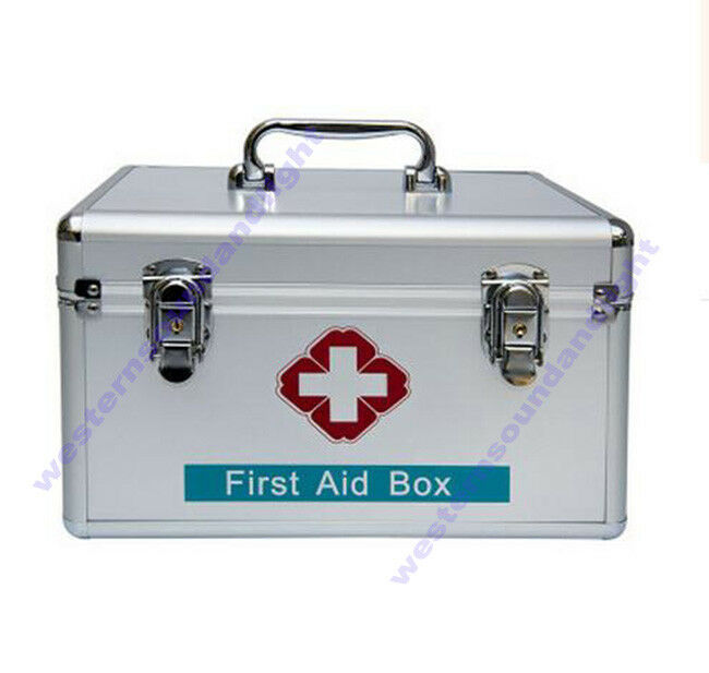 Large Big Aluminium First First First Aid Kit Metal Box Case Medicine Storage Tool Box+Strap ad4818