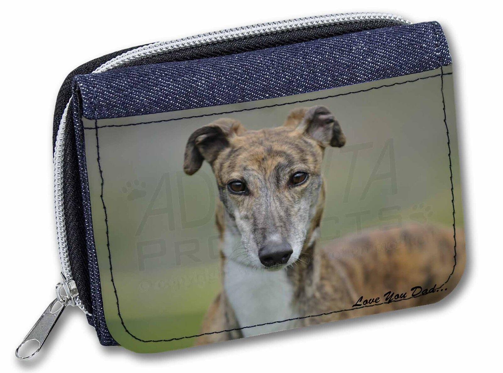 Brindle Greyhound 'Love You Dad' Girls/Ladies Denim Purse Wallet Chri, DAD-173JW