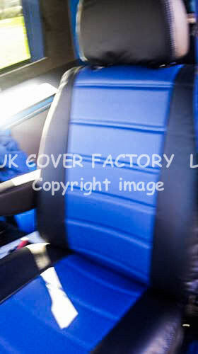 FORD TRANSIT MK7 VAN SEAT COVERS BLUE QUILTED LEATHERETTE 1+1