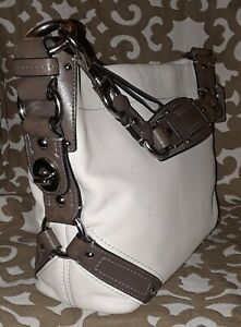 COACH-CARLY-10615-Cream-Ivory-amp-Olive-Gray-Accents-Leather-Hobo-Slouch-Bag-Purse