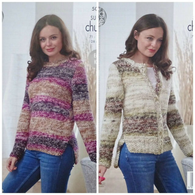 d07e961d8 KNITTING PATTERN Ladies Easy Knit Long Sleeve Jumper  Cardigan Super Chunky  5028