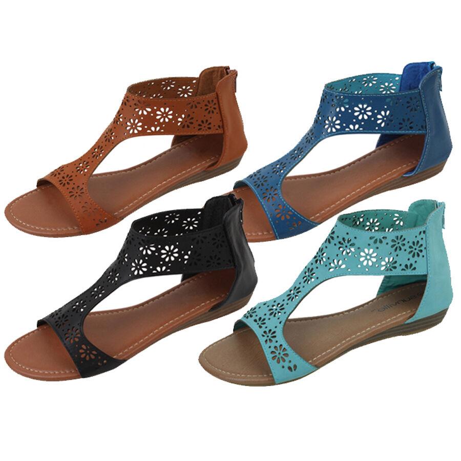 Women's Roman Gladiator Back Flats Sandals Hollow Perforated Back Gladiator Zipper Shoes, Sizes dbdac5