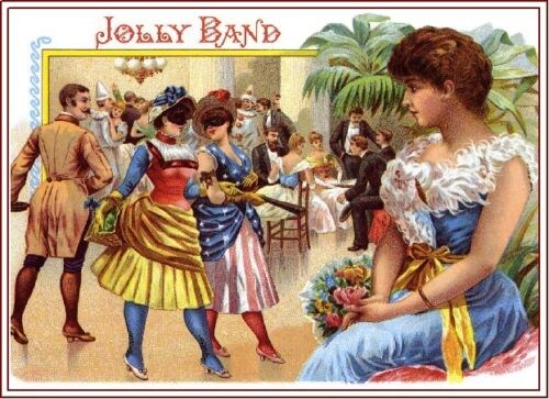 Jolly Band Beautiful Woman Vintage Cigar Box Crate Label Art Poster