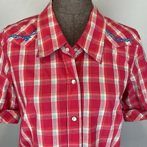 Bit-Bridle-Western-Shirt-S-Pink-Plaid-Pearl-Snap-Front-Short-Sleeve-Embroidered