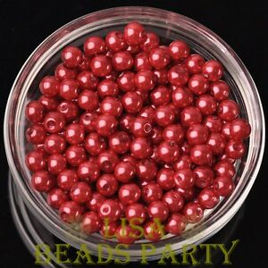 New-300pcs-6mm-Round-Czech-Glass-Pearl-Loose-Spacer-Beads-Red