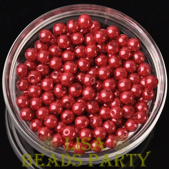 New 300pcs 6mm Round Czech Glass Pearl Loose Spacer Beads Red