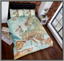 Vintage Map Urban World Queen Size Quilt Cover Set New