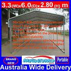 Single STEEL Carport, Shelter 3.3x6M, Yard, Backyard shelters, Portable Carports