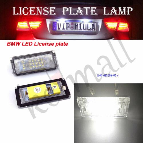 2X White BMW E46 4D LED License Plate lamp Light 98-03
