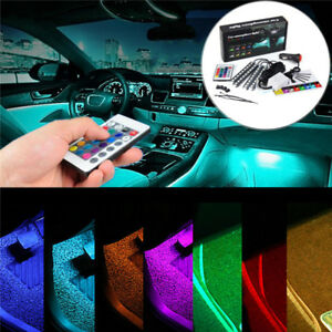 4-9-LED-RGB-Voiture-Lampe-Bande-Interieur-Atmosphere-Eclairage-Lumiere-Remote