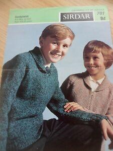 Vintage Rare Années 1960 Sirdar Knitting Pattern Garçons Filles Cardigan 26 - 30 In (environ 76.20 Cm)-afficher Le Titre D'origine