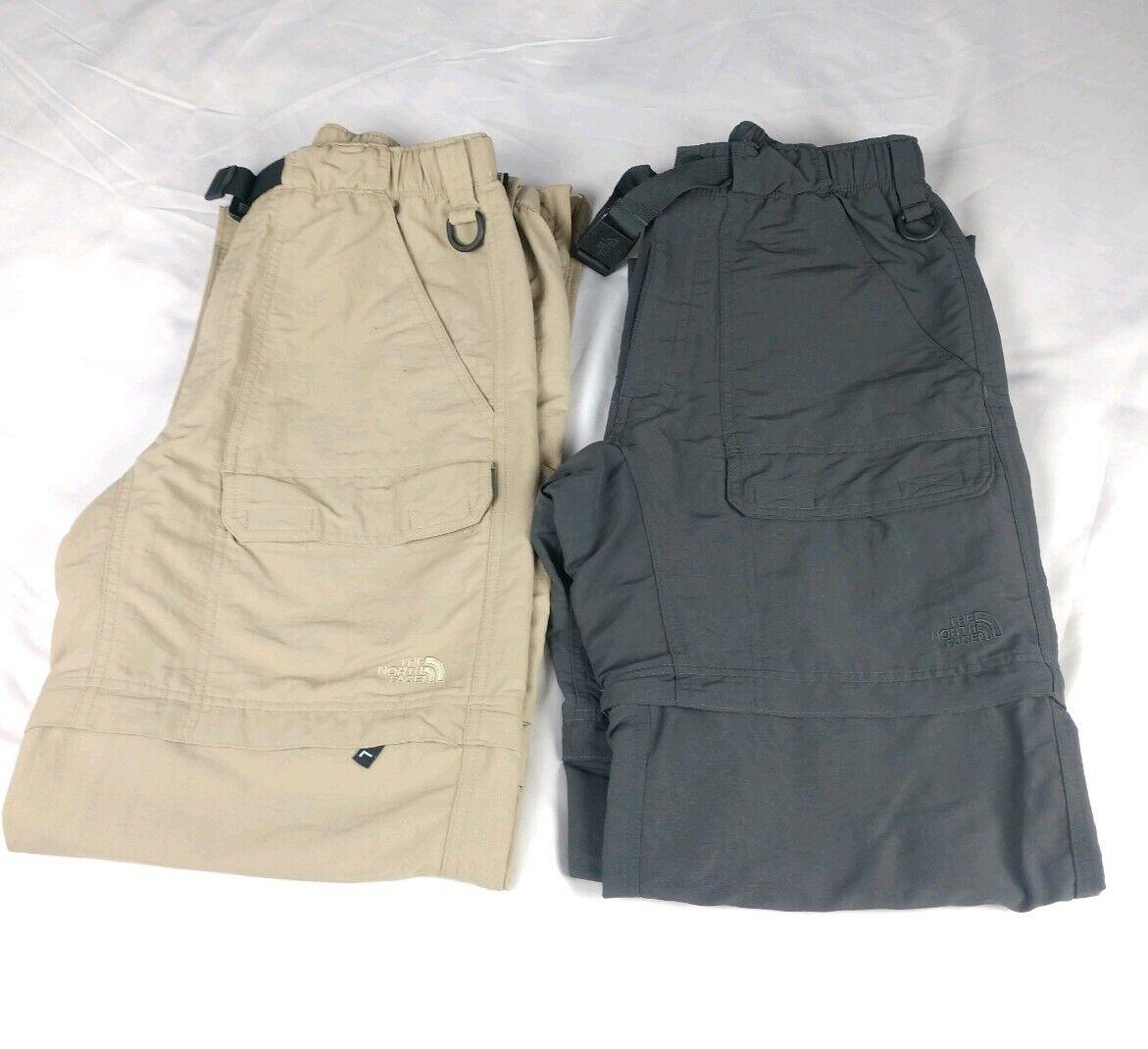 2 PAIR North Face Mens S ConGrünible Zip Off grau Tan Hiking Pants Shorts Cargo