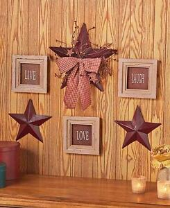 6 Pc Red Star Framed Live Love Laugh Wall Art Set Rustic
