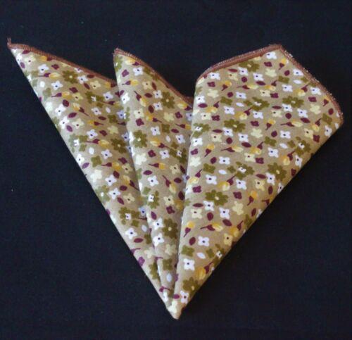 Mouchoir de poche carré coton mouchoir marron clair avec motif floral CH166