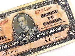 1937-Canada-2-Dollar-HR-Prefix-Circulated-Coyne-Towers-Canadian-Banknote-Q252