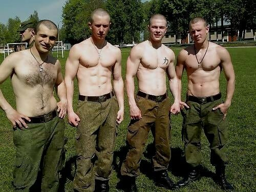 Shirtless Male Muscular Military Group Shot Shaved Heads Hunks PHOTO 4X6 D441