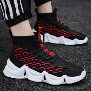 Men-039-s-High-Top-Flyknit-Jogging-Shoes-Athletic-Sports-Outdoor-Running-Sneakers