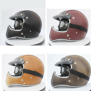 Vintage Full Face Motorcycle Helmet Deluxe Leather Street Bike Cruiser Helmet