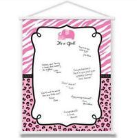 Pink Safari Girl Baby Shower Sign-in Sheet Hanging Scroll - 270153
