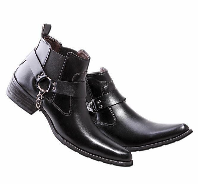 British Mens Black Pointed Toe Business Dress Ankle Boots Punk Goth Casual Shoes