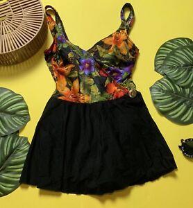 Obligeant Vintage Noir Et Floral à Revêtement Swimming Costume-afficher Le Titre D'origine
