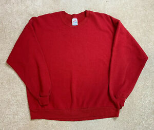 JERZEES-Vtg-90s-Blank-Crewneck-50-50-Sweatshirt-Men-039-s-2XL-Red-MADE-IN-USA