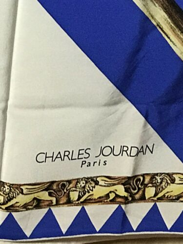 Carre Lion Silk Bavaria Jourdan White Foulard Rhombus Blue Charltuch Silk Bavaria tdCshQr
