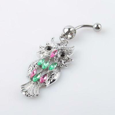 Cute Owl Crystal Rhinestone Navel Belly Button Barbell Ring Body Piercing 03 ER