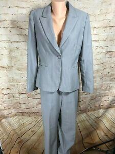 Tahari-Womens-Size-8-Gray-Pin-Stripe-Pant-Suit