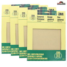20 Sanding Paper Sheets 220 Grit Very Fine New