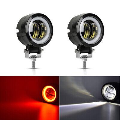 """3/"""" 20W LED Work Lights Round Spot Driving Fog Lamp Red Angel Eyes Work Light ATV"""