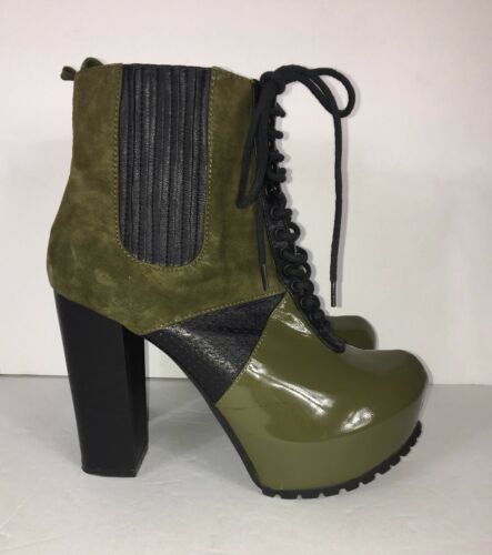 Matiko Womens Ankle Boots Size 7.5 Green Patent Leather Suede Lace Up High Heels
