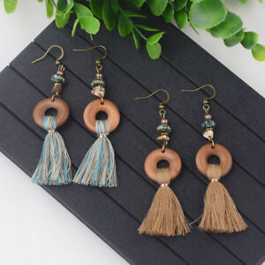 Fashion-Bohemian-Round-Colorful-Tassels-Dangle-Women-039-s-Vintage-Earrings-Jewelry