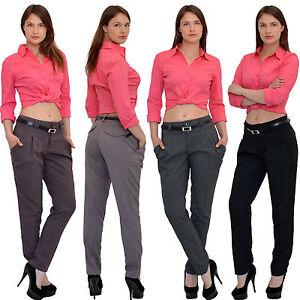 Damen Chinohose Stoffhose Business Stoff Hose Damen High Waist Baggy Hose H42