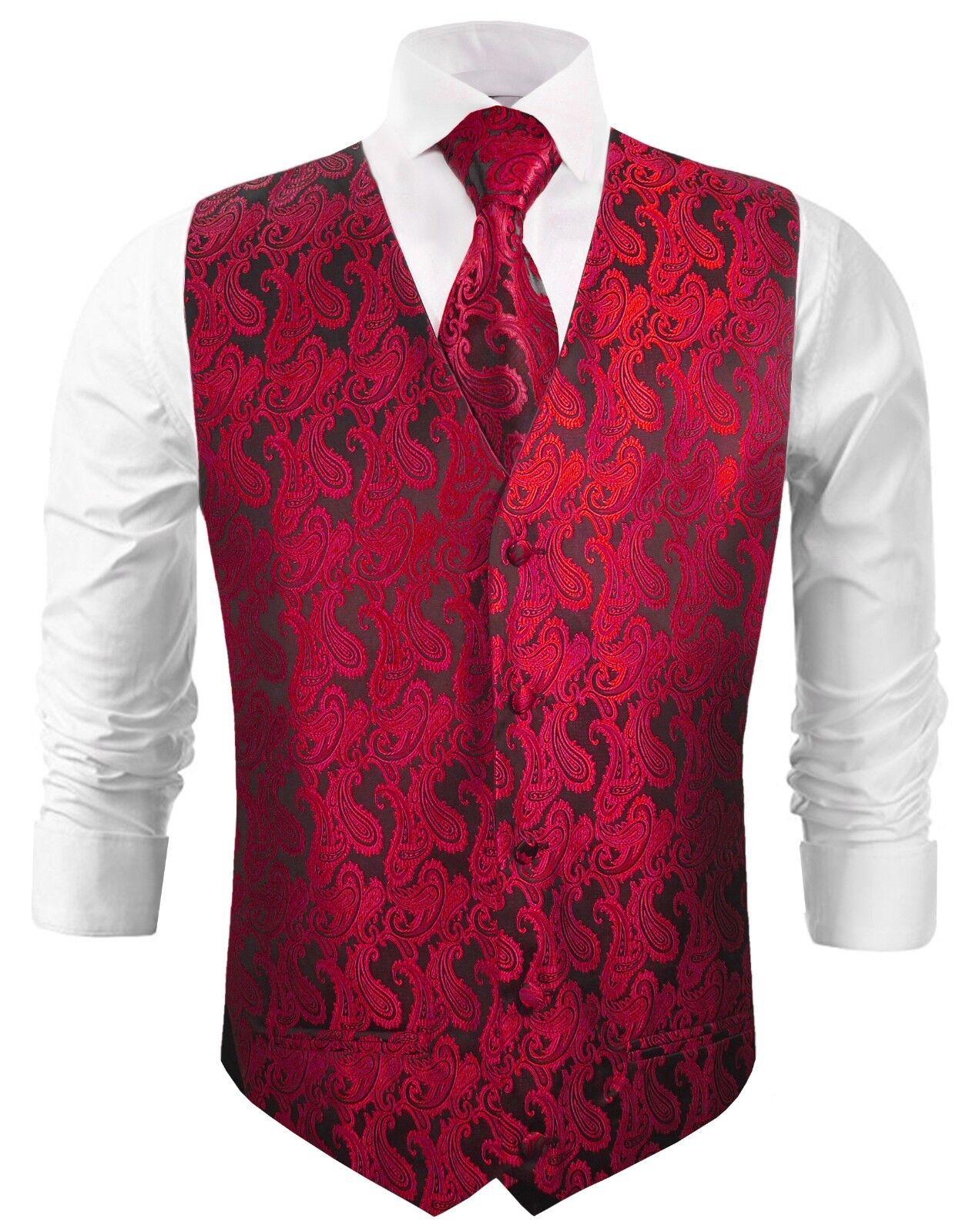 Paul Malone Hochzeitsweste mit Krawatte schwarz rot paisley v99