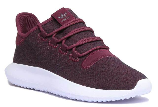 the latest 1335b 986b5 Adidas Tubular Shadow Mens Mesh Maroon Lace Up Low Trainers UK Size 6 -12