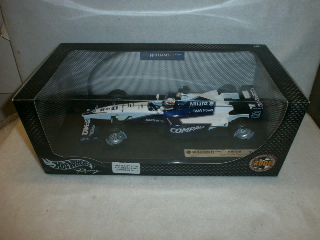 HotWheels Williams F1 FW23 Juan Pablo Montoya 2001 EDIZIONE LANCIO Nuovo di zecca con scatola 1:18