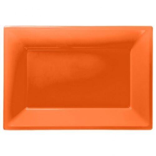 3 Bandeja para Servir Bandejas de plástico color naranja 33cm X 23cm Buffet Fiesta Vajilla