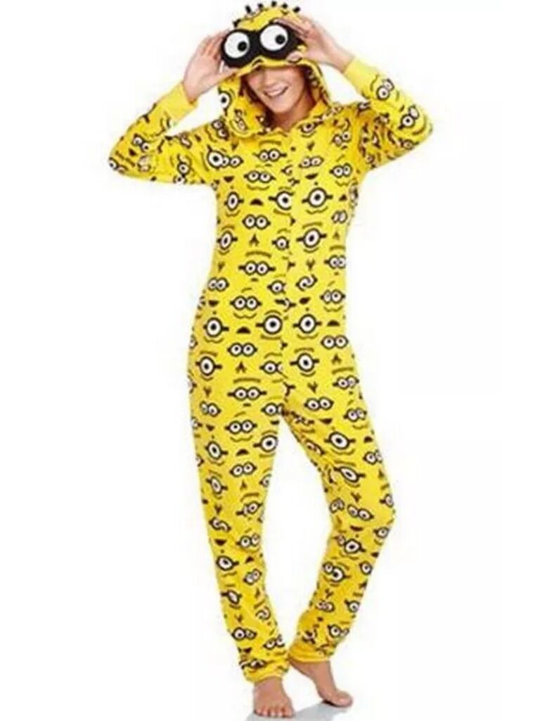 MINION DESPICABLE ME HOODED NON FOOTED PAJAMAS 1 PC COSTUME NWT XL or XXL LASTON
