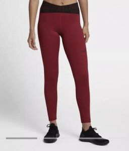 b2e6bdfa1554 Details about NWOT NIKE PRO Cross Over Burgundy/ Red/ Black Training  Leggings Small S New!