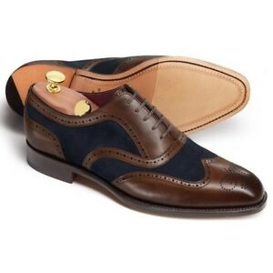 Handmade-Hommes-Deux-Tons-Richelieu-a-bout-d-039-aile-Formelle-Chaussures-Hommes-Robe-Chaussures-en