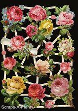 German Victorian Style Embossed Scrap Die Cut -  Roses / Flowers  WOW  EF7448