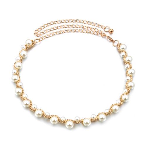 Perle Metall Taille Kette Gürtel Gold Für Kleid Dekor 110cm Frauen