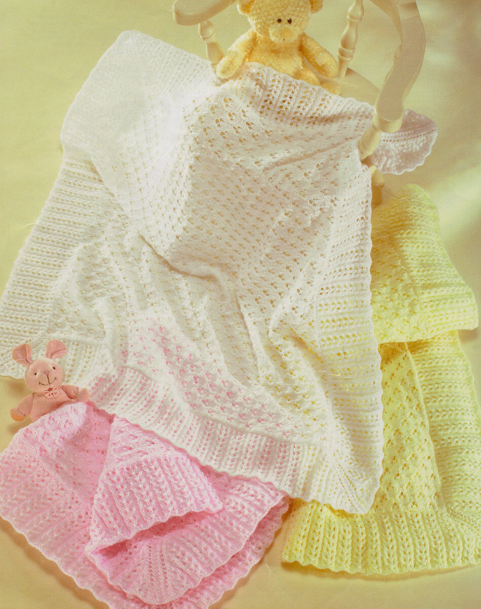 Eyelet Baby Shawl/ Blanket Knit in 3 Ply 4 Ply or DK Knitting ...