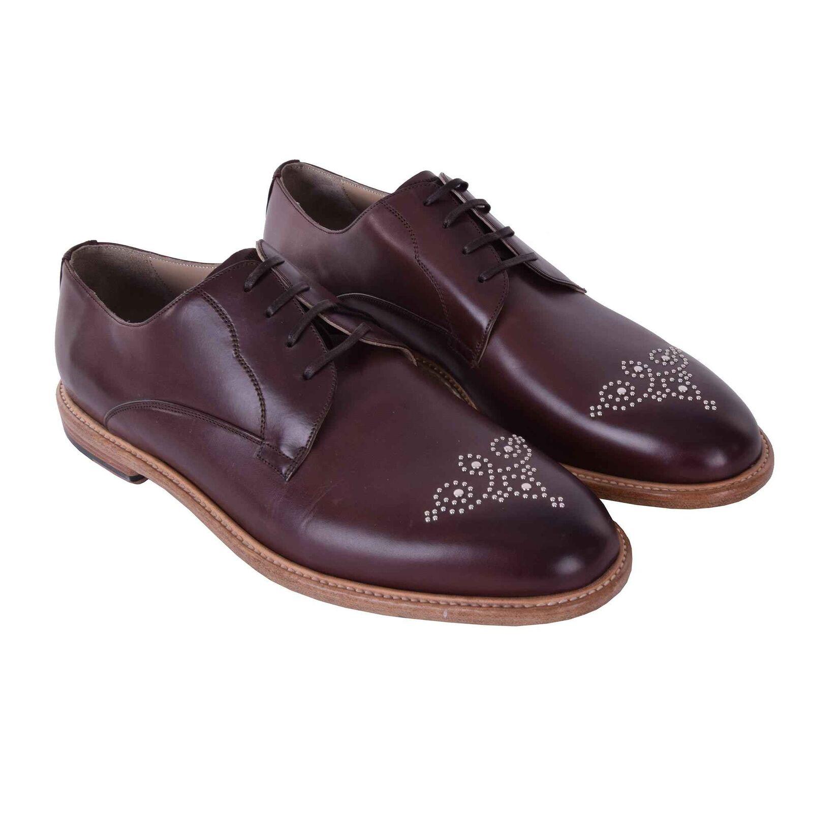 DOLCE & GABBANA Derby Schuhe MARSALA mit Nieten Braun Silber Shoes Brown 05898