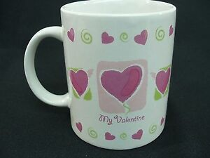 My-Valentine-Coffee-Mug-White-Pink-Hearts-Green-Swirls-Just-For-You-10-oz-Cup