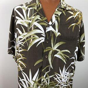 Kalaheo-Hawaiian-Aloha-Camp-Shirt-Large-Palm-Trees-Tropical-USA-Brown-Green
