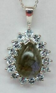Edler-5-4-Carat-Labradorit-Anhaenger-925-Silber-Collier-Kette-Blauotpas-Topas