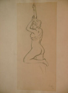 Dessin-Original-LUBIN-DE-BEAUVAIS-XIXe-Etude-de-Nu-et-drape-Art-Nouveau-LB62